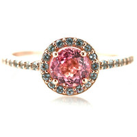 14K Pink Tourmaline Ring Aquamarine Halo