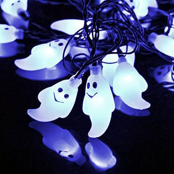 5M 20 LED Solar Powered Ghost Shape Fairy String Lights for Halloween Garden Patio Party Holiday Decorations
