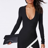 Missguided - Plunge Long Sleeve Wrap Hem Mini Dress Black