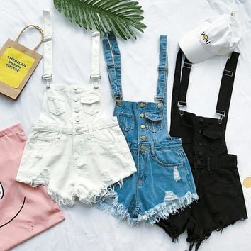 New Arrival Summer Women Fashion Tassel Denim Cute Solid Loose Overalls Female Casual Beach All-match Short Jeans
