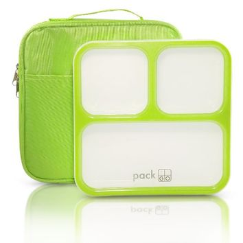 PackTOGO Leakproof Bento Lunch Box Container Set w/ Insulated Lunch Bag for Adults (Green)