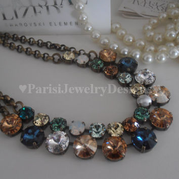 ONE, Swarovski Necklace, Rivoli 12mm, Brown/Blue Montana Multicolors, Choker, Crystal, Brass, Anna Wintour, Tennis, Necklace
