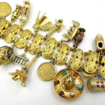 Massive Vintage 18k Yellow Gold Travel 20 Charm Bracelet Gold Coins 150 grams