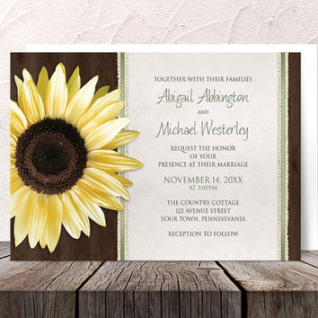 Sunflower Wedding Invitations - Country Yellow Floral with Brown Wood Burlap strips and Green - Printed Invitations