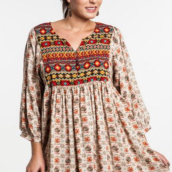 Umgee Baby Doll Tunic Plus Dress -Boho- Taupe Mix