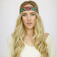 Boho Indian Ribbon Stretchy Headband Bohemian Paisley Ribbon Hair Bands for Women Stylish Hair Accessories (INDIAN-03)