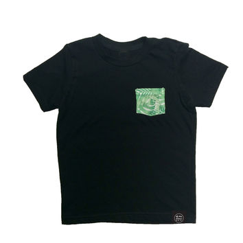 Kid's Black Pocket T-Shirt - Palm Party Print