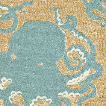 "Octopus Aqua 20"" x 30"" Indoor/Outdoor Rug"