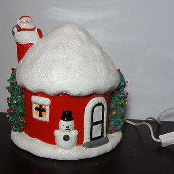 Vintage Christmas Village Ceramic Lighted House with Santa and Trees - Old Fashioned Christmas