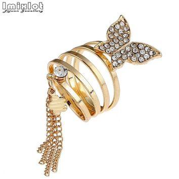 Imixlot Charm Long Chain Gold Tassels Big Butterfly Ring Femmal Party Hollow Punk Three Finger Rings Fashion Jewelry