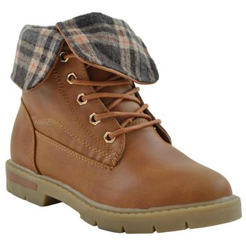 Kids Ankle Boots Fold Over Cuff Faux Leather Hiking Shoes Tan
