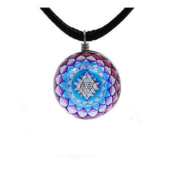 Sri Yantra Glass Globe Pendant Necklaces