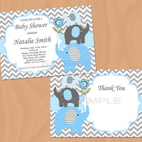 Baby Shower Invitation Elephant Baby Shower Invitation Boy Baby Shower Invitations Invite Blue (49d) -Free Thank You Card - Instant Download