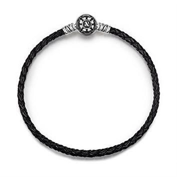 NinaQueen? 7.5 Inch Black Genuine Leather Woven Bracelet with 925 Sterling Silver Snap