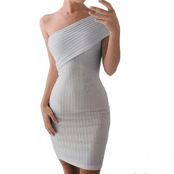 Feitong Brand 2017 Women Off Shoulder Tight Sexy Elegant Dress Short Party Dress Knitted