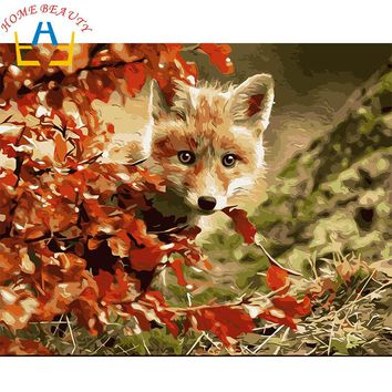 New home decor pictures on canvas diy oil painting by numbers drawing nodular pictures one the wall art animals baby wolf Y006