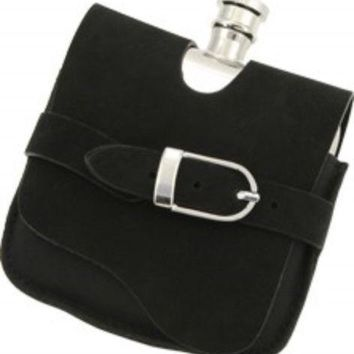 Elegant Stainless Steel 5oz Liquor Flask with Black Suede Wrap