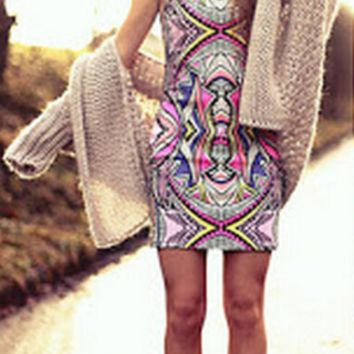 Printed Sleeveless Bodyocn Dress