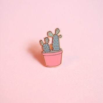 Small Prickly Pear Cactus Hard Enamel Pin, Lapel Pin, Cactus Flair