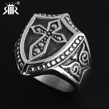 Stainless Steel Titanium Armor Shield Knight Templar Crusader Cross Ring Medieval Signet