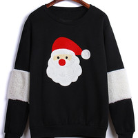 Black Santa Claus Embroidery Fleece Lining Sweatshirt