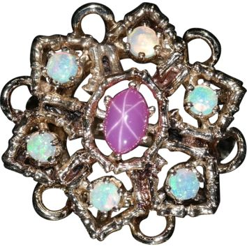 Vintage mid century, 14k Yellow Gold, Opal ring with a Pink Synthetic Star Sapphire Center