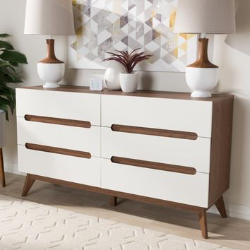 Baxton Studio Calypso Mid-Century Modern White and Walnut Wood 6-Drawer Storage Dresser Set of 1
