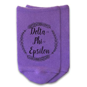 Delta Phi Epsilon - Sorority Name with Wreath No-Show Socks