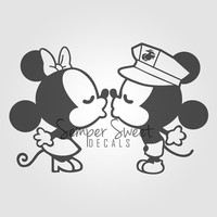 USMC Army Air Force Navy Wife Love military Mickey & Minnie Decal