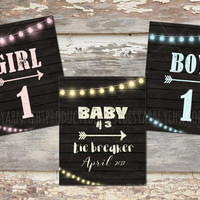 Pregnancy Announcement Photo Prop Sign, Tie Breaker, Baby Number 3, Sibling Sign Maternity Photography, Pregnancy String light Rustic Wood
