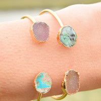 Druzy and Turquoise Cuff: Pastel