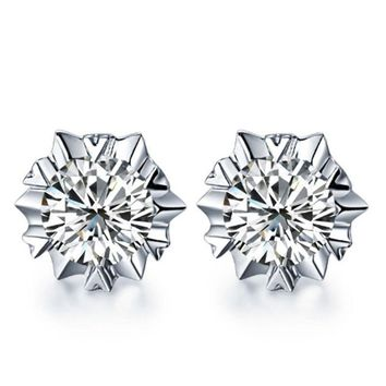 Women Silver Plated Jewelry Elegant Crystal Ear Stud Earrings Ice Flower Gift