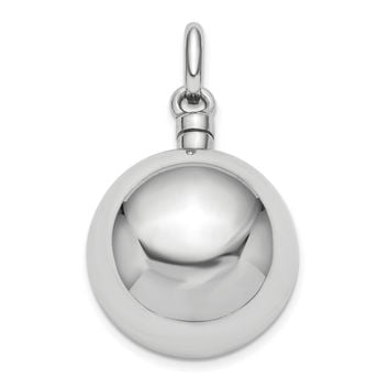 Sterling Silver Rhodium-Plated Ball Ash Holder Pendant QC9172
