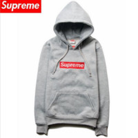 Autumn and winter plus cashmere card lovers fitted Supreme sweater hedging jacket men Gray