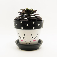 Succulent Planter, Terracotta Pot, Cute Face Planter, Air Plant Holder, Plant Pot, Flower Pot, Indoor Planter, Kawaii Planter, Black Pot