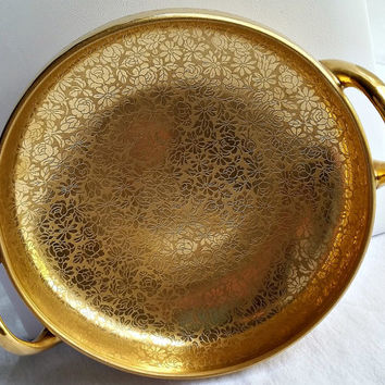 Vintage Gold Bowl - 24K Gold Overlay Bowl - Antique Bowl - Round Handled Gold Bowl - Pickard Etched China - 1920's Dishes