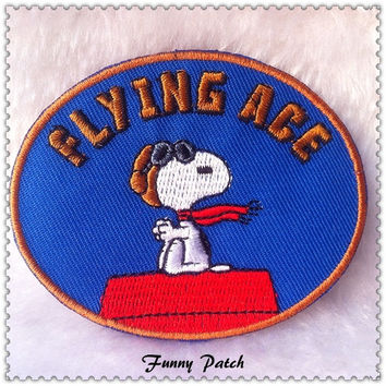 Flying Ace Aviator Snoopy Iron on Patch 62-H