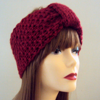 KNIT EARWARMER HEADBAND Turban Headband Crochet Head Wrap Knit EarWarmer HeadWarmer Burgundy Women Winter Accessories Gift Ideas Under 25