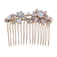 Gold and Pink Floral Pearl Comb