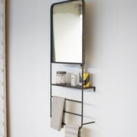 Wall Mirror With Shelf And Towel Bars