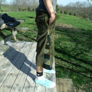Patchwork Corduroy Shorts Green Blue Pants Hippie Handmade Festival Heady  Kynd Valley Mens 36