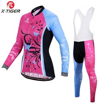 X-Tiger Women Autumn Cycling Clothing Anti-UV MTB Bicycle Wear Ropa Ciclismo Racing Bike Clothes Cycling Jersey Set For Woman