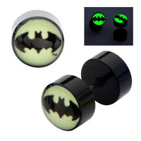 DC Comics Earrings Ring Fake Cheater Plug Taper Glow 18g Ear pair Batman Bat man