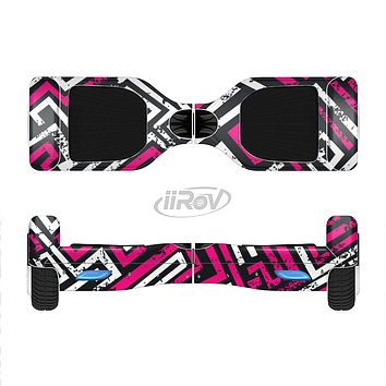 The Pink & White Abstract Maze Pattern Full-Body Skin Set for the Smart Drifting SuperCharged iiRov HoverBoard