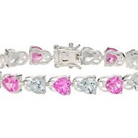 25 7/8 Carat Created Pink Sapphire & White Topaz Sterling Silver Bracelet - BSW_103999
