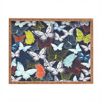 Vy La Butterfly Sky Navy Rectangular Tray