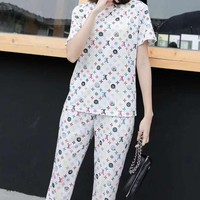 """LOUIS VUITTON""Woman's Leisure  Fashion Letter Printing  Short Sleeve Trousers Two-Piece Set Casual Wear"