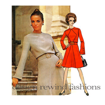 1960s MOD VOGUE DRESS Pattern Jacques Heim Designer Vogue Paris Original 2125 Diamond-Shaped Inset Bust 36 Women's Vintage Sewing Patterns