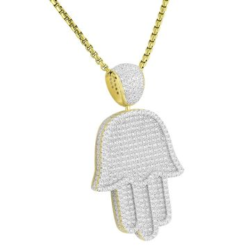Iced Out Hamsa Hand Sterling Silver Pendant Free Chain