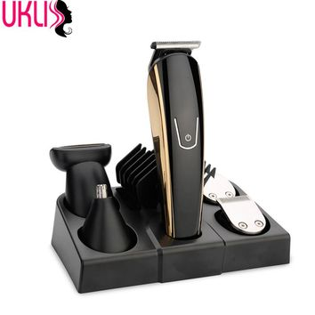 New Waterproof Rechargeable Hair Beard Clipper kit Haircut Tools Scissors Electric Shaver Razor Nose Clean For men